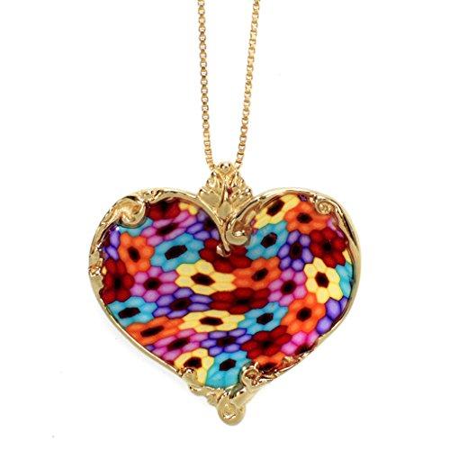 Collier Coeur d'Or - Bijoux Romantique - Pendentif de designer fait main - Cadeau de Noel pour femme Millefiori