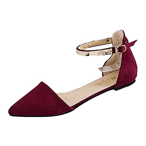 pointed Shoes - TOOGOO(R)Woman Shoes Spring Summer Pointed Toe suede Flats Soft Fashion Brief sandals Red US8
