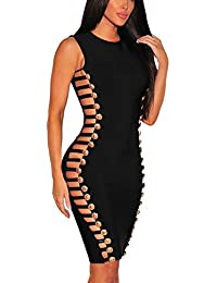 EOZY Robe Bandage Femme Noir Moulant Mini Court Creux Soirée Clubwear