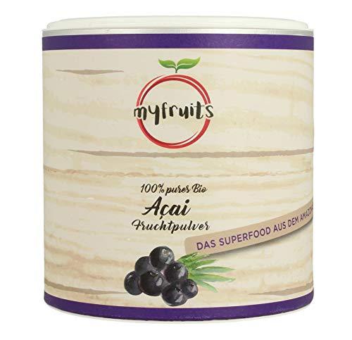 myfruits® Bio Acai Pulver - gefriergetrocknet, ohne Zusätze, dunkelviolett. Das Superfood aus dem Amazonas. Aus 3,6 kg frischen Acai Beeren (200g) (Acai-beere Diät-pillen)