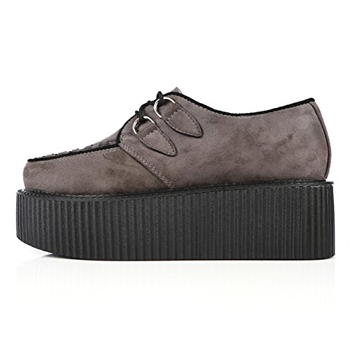 RoseG Femmes Lacets Plate Forme Gothique Punk Creepers Casual Chaussures Gris