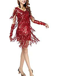Dayiss Damen Pailletten Tanzkleid Quasten Swing V-Ausschnitt Sexy Partykleid Samba Rumba Latein Gesellschaftstanz Kleid Dance dress
