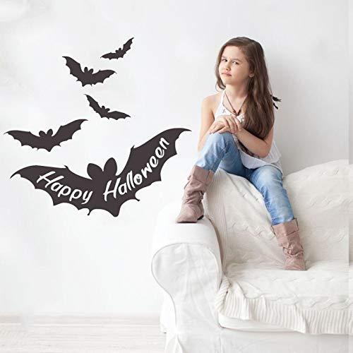 Happy Halloween Zitate In Bat Wings Vinyl Dekor Für Halloween Wandaufkleber Fliegende Fledermäuse Nette Wandbild Aufkleber Qualität Poste56 * 56 cm (Halloween 2 Film Zitate)