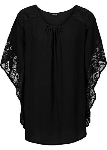 Smile YKK Chemisier Femme Elégant Blouse à Dentelle T-shirt à Fleur Soirée Cocktail Fantaisie Noir