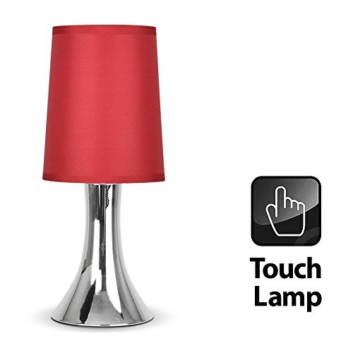 MiniSun - Modern Chrome Touch Table Lamp With Red Fabric Shade - Red Table Lamps For Living Room: Amazon.co.uk