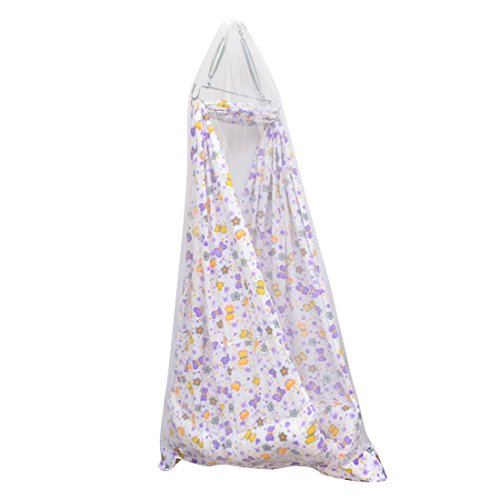 Orange and Orchid ONOCRDL0032:FLX Baby Cradle with Mosquito Net and Spring Set, Multicolor