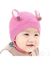 BIGBOBA Bebé Tejer Sombreros Niño niña Bebé Oreja de Animal Encantador  Gorros ... 0f082a9e346