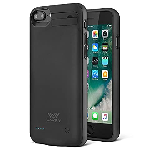 SAVFY iPhone 7 Plus Akku Hülle 4000mAh Ultra Dünne Zusatzakku iPhone 7 Plus Externe Batterie Backup Case 5,5 Zoll Schwarz