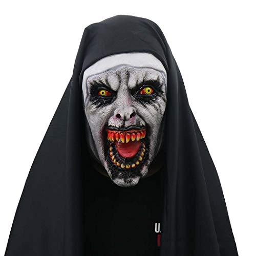 Halloween Nun Kostüm Für Frauen Maske Mit Schleier Beängstigende ()