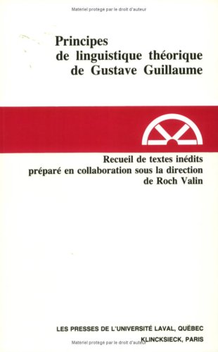 Principe de linguistique théorique de Gustave Guillaume