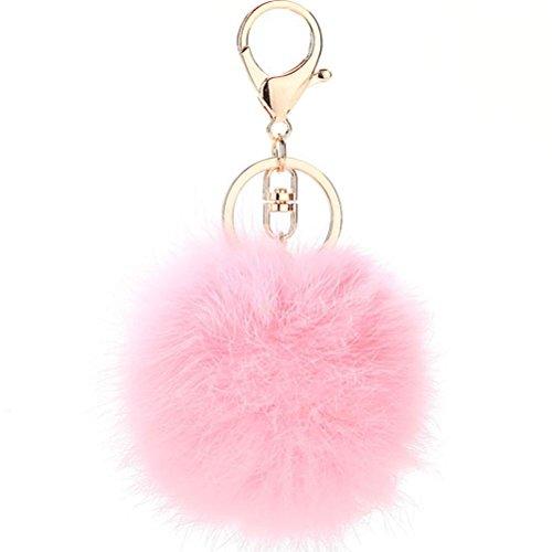Mjhwsx Portachiavi donna moda pelliccia ciondoli portachiavi palla , 4