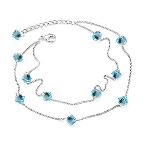 Anazoz Bijoux Fantaisie Bracelet de Cheville Strass Bleu Argent Double Chaîne Zircone Cubique Bracelet Femme Réglable Ultramarine
