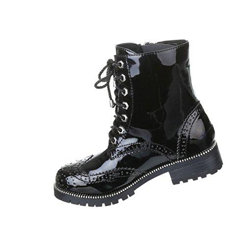 Damen Schuhe Gothic Stiefelette Boots Punk Stiefel mit Nieten Nr 15 Schwarz