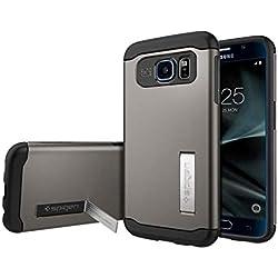 Spigen Coque Galaxy S7, [Slim Armor] Coussin d'air [Gunmetal] Coussin d'air aux Coins/La Protection de Double Couche Coque pour Samsung Galaxy S7 (2016) - (555CS20012)