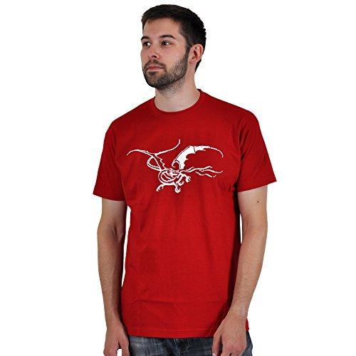 Lo Hobbit -T shirt del drago Smaug - Con licenza ufficiale - Girocollo - Rosso - XXL