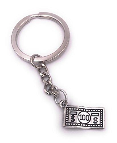 Für Schlüsselanhänger Einen Dollar (H-Customs 100 USD Dollar Schein Schlüsselanhänger Anhänger Silber aus Metall)