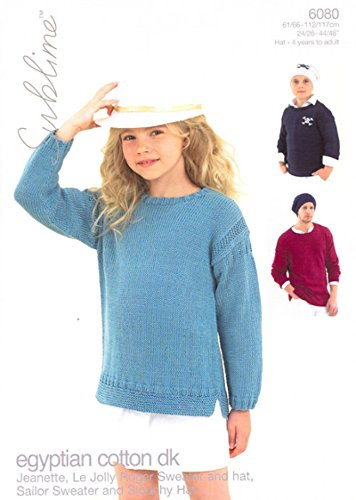 Sublime Ägyptische Baumwolle DK Kinder Pullover & Hüte Strickmuster 6080