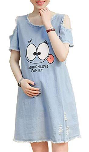 Baggy Maternity Kleid Schulterfrei Damen Rundhals Umstandsmoden Umstandskleid Casual Frauen Jerseykleid Kurzarm Schwangere Sommer Kleid Emojis Gedruckte (Color : Blau, Size : S) (Emoji-kleider Für Frauen)