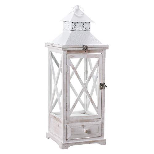 NOOR Handels GmbH Laterne Holz weiß Windlicht Kerzenhalter Kerzenständer Schubkasten Sprossen (Groß (25,5 x 25,5 x 75cm))