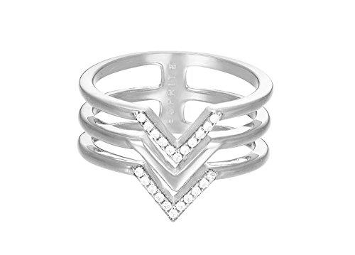 Schmuck Frauen Für Ringe (ESPRIT Damen-Ring JW50215 rhodiniert mattiert Zirkonia weiß Gr. 57 (18.1) - ESRG02611A180)