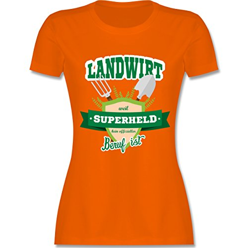 Landwirt - Landwirt - weil Superheld kein offizieller Beruf ist - tailliertes Premium T-Shirt mit Rundhalsausschnitt für Damen Orange
