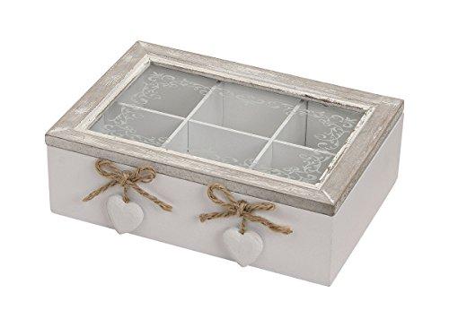 2012852 Aufbewahrungsbox mit Glasdeckel 6 Fächer 23 x 7 x 17 cm weiß