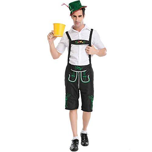 Günstige Deutsches Kostüm Lederhosen - Herren Oktoberfest Bayerisches Kostüm Erwachsene Bier Festival Kostüm, Oberteile, Leatherhouse Style Hose, Hut Set XXL