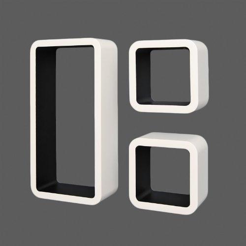 ts-ideen Lot de 3 étagères cubiques murales Design Livres Rétro CD Blanc Noir
