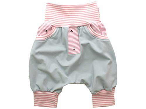 Kleine Könige kurze Hose Gr. 86-152 Sommer Bermuda Shorts Mädchen mit Tasche Anker Ankerstreifen rosa, rosa-weiß