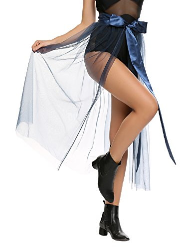 Chigant Damen Bikini Gaze Bademode Bikini Abdeckung am Strand Schlitzrock Small blau - Gaze-abdeckung