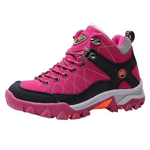 HDUFGJ Herren Damen Winterschuhe Warm Wanderstiefel,Outdoor & Trekkingstiefel,wasserabweisend rutschfest Traillaufschuhe Stiefeletten Outdoor Trekking Wander Stiefel Schuhe Sneaker37 EU(Pink)