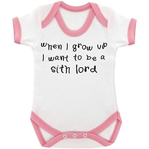 When I Grow Up I Want diseño de demostrado ser una Señor de los Sith mono con diseño de bebé de color rosa palo contrastado y negro diseño de