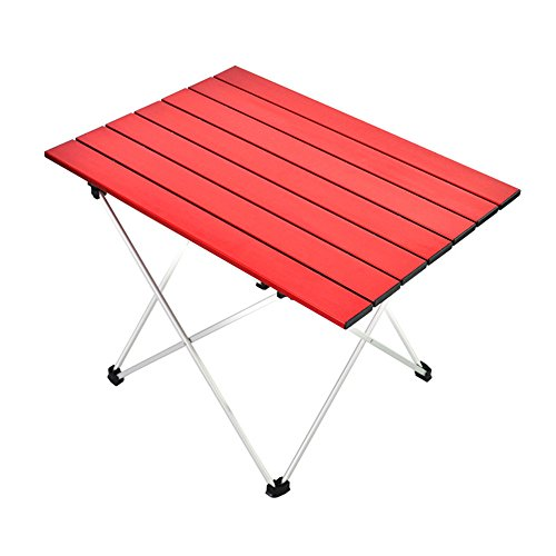 JFJL Table De Camping en Aluminium - Table De Plage Pliante Extérieure Compact, Portable Table De Pique-Nique pour Camping Intérieur Et Extérieur Plage Natation Randonnée Pique-Nique Barbecue (Rouge)