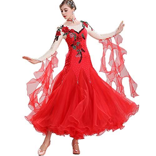 Moderner Walzer Ballsaal Tanzen Wettkampfkleider Für Frauen Standard Tanzkleid Flauschiger Rock Erwachsene Gestickte Applikation Tango Kleid Langarm,Red,XXL (Red Hat Blue Shirt Kostüm)