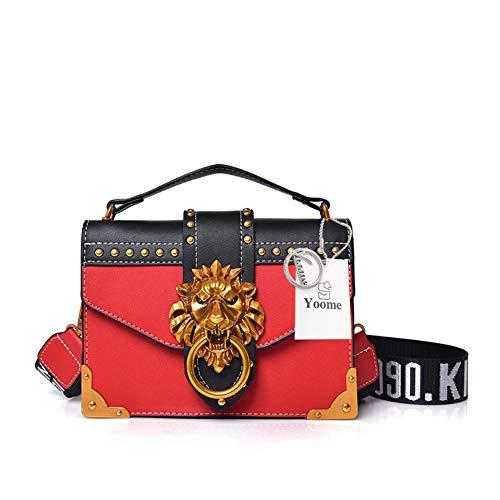 Yoome Damen Designer-Schultertasche/Clutches mit Löwenkopf und Ring (Chanel Handtasche)