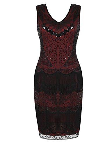 kayamiya 1920 Kleider für Damen Plus Größe V-Ausschnitt Pailletten Deco Flapper Fringe Kleider M ()