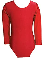 Child Girls Leotard Sleeved Stretchy Dance Gymnastics Ballet Sports Uniform Top (Red, 32 ( 11 - 12 Years)) by REAL LIFE FASHION LTD