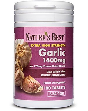 Garlic Tablets 1400mg - high strength, odour controlled - 100% UK-made-180 tablets from Nature's Best