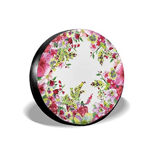 ErwangGo Tire Cover Wheel Covers,Fresh Curly Willow and Dahlia Floral Summer Buds Pollen Hand Drawn Print,for SUV Truck Camper Travel Trailer Accessories(14,15,16,17 Inch) 15 Cover Willow