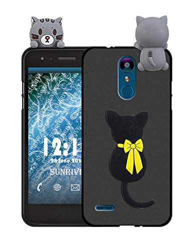 Sunrive Für Lg K9 Hülle Silikon, Handyhülle matt Schutzhülle Etui 3D Case Backcover Tiere Muster Cover Handy Tasche Bumper(W1 Katze)+Gratis Universal Eingabestift Tier Handy Cover