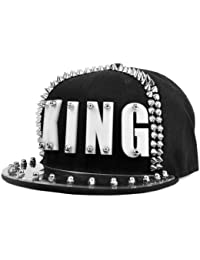 LOCOMO Men Women Black Hedgehog Spike Acrylic King Baseball Cap Snapback FFH068