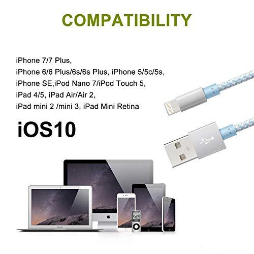 3FT Cargador iPhone Cable Lightning iPhone USB de sincronizaci/ón r/ápida de Nailon Trenzado Compatible con iPhone XS//XR//X//8//8 Plus//7//6s//6Plus//6//Pad//Pod y m/ás