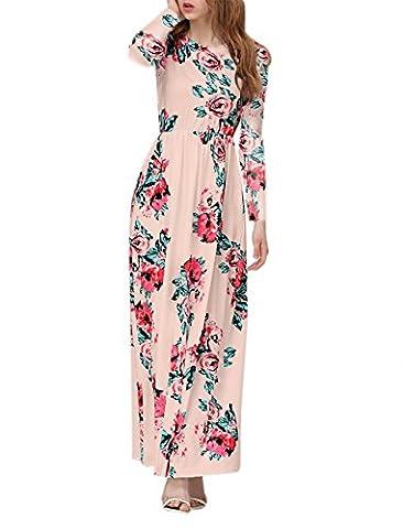 Women's Summer Casual Long Sleeve Dress Boho Floral Print Tunic Dress Evening Party Long Dress Beach Maxi Dress (l, pink)