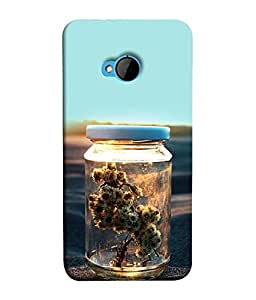 FUSON Designer Back Case Cover for HTC M7 :: HTC One M7 (Cute Bottle Flowers Creative art Test tube plants)