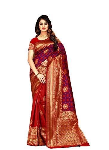 RAJ SHREE FASHION Banarasi Silk Saree Frauen indische Hochzeit ethnischen Sari & Unstitch Bluse Stück Sari De22 -