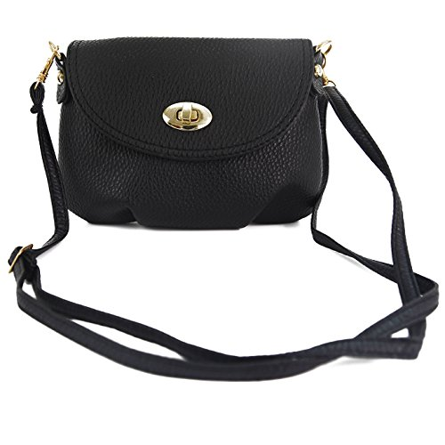 Andy's Share, Kleine Damentasche, Umhängetasche, Citytasche, Schultertasche, Handtasche, Farbenwahl (Schwarz)