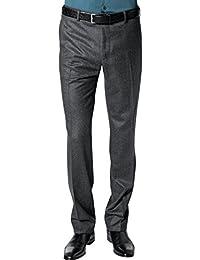 RENÉ LEZARD Herren Hose Schurwolle Pant Unifarben, Größe: 46, Farbe: Grau