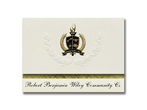 Signature Announcements Robert Benjamin Wiley Community Cs (Erie, PA) Abschlussankündigungen, Präsidential-Stil, Grundpaket mit 25 goldfarbenen und schwarzen metallischen Folienversiegelungen