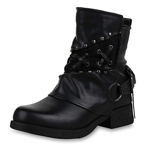 SCARPE VITA Damen Stiefeletten Biker Boots Nieten Leicht Gefütterte Schuhe 169131 Schwarz Nieten Leicht Gefüttert 38