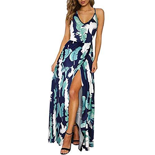 Riemchen-krawatten (LOLIANNI Frauen Grün Sommer Blumenmuster Maxi Kleid Damen verstellbare Riemchen Krawatte Rückseite Split Kleid Strandkleid)